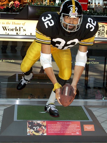 summer vacation art statue airport pittsburgh nfl pit 2008 steelers footbal blackandgold francoharris historiccatch