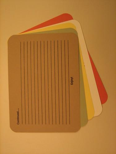 Recipe cards – back