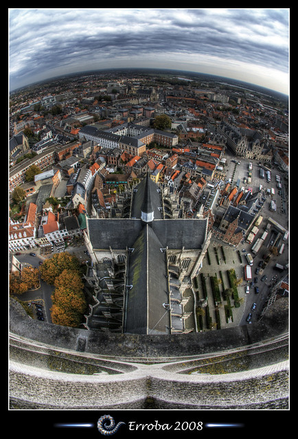 View from St Rumbolds Tower over the city of Mechelen, Belgium :: HDR :: Fisheye