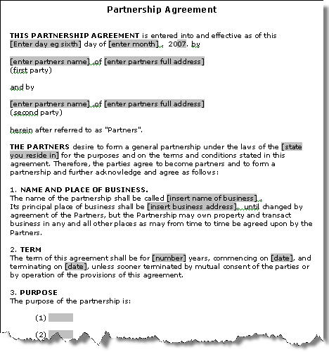 farm partnership agreement template - general real estate partnership agreement usa images