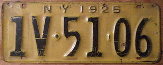 NEW YORK 1925 LICENSE PLATE