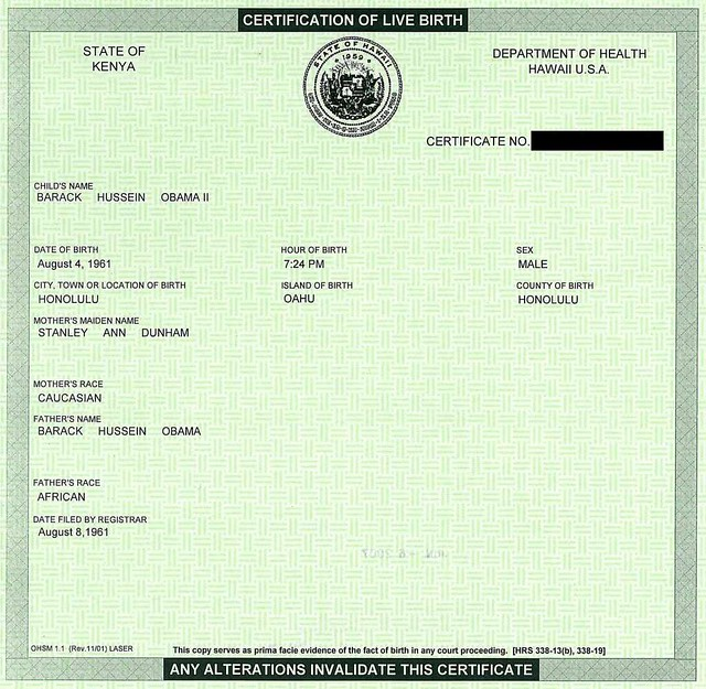 Obama's Real Birth Certificate