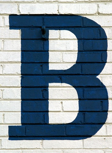 Serifed Blue Capital Letter B On Brick (Silver Spring,  MD)
