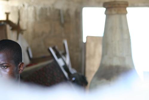 beer bottle-shaped coffin at a coffin workshop in Ghana
