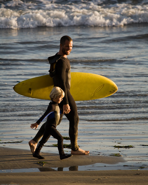 "Father and son surf lesson in Morro Bay, CA - image by Michael ""Mike"" L. Baird"