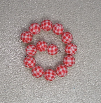 Polymer Clay Red Gingham Beads