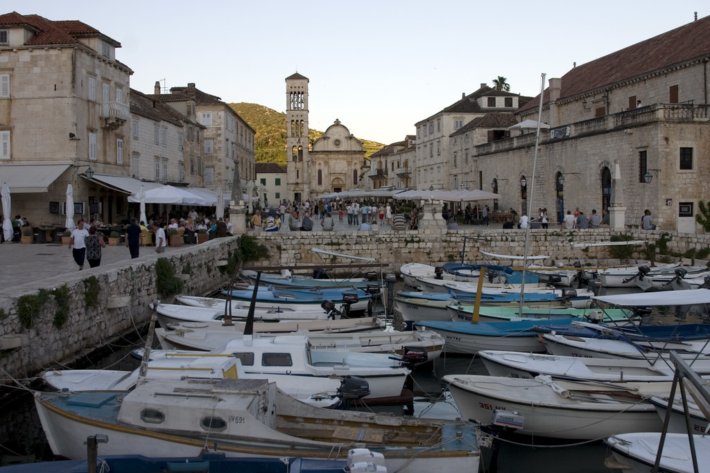 Hvar harbour and Cathedral of St Stjepan