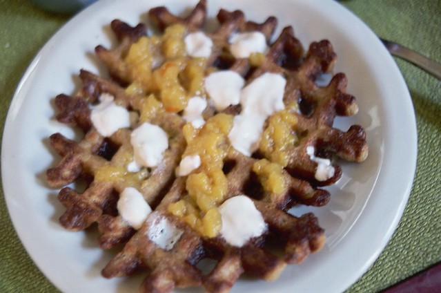 waffles with peach jam (err, sauce?), creme fraiche | Flickr - Photo ...