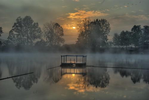 camping ohio sun lake reflection fog sunrise landscape pentax lancaster k10d pentaxk10d kcjacoby truckmeet