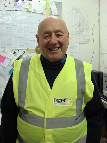 Wyn shows off his six pack and his new Hi Vis Vest