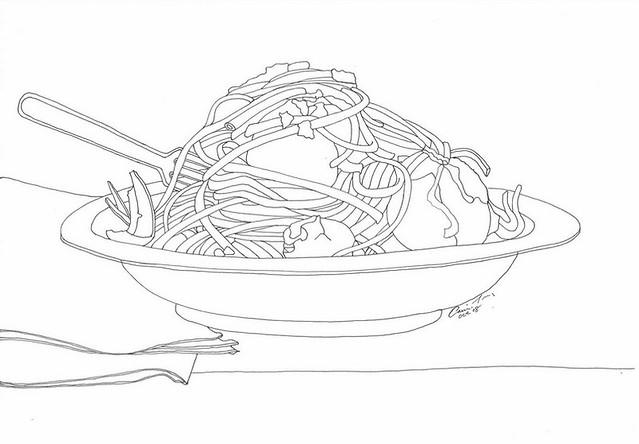 spaghetti drawing spaghetti and meatballs