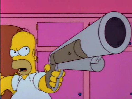 Homer Simpson with a shotgun