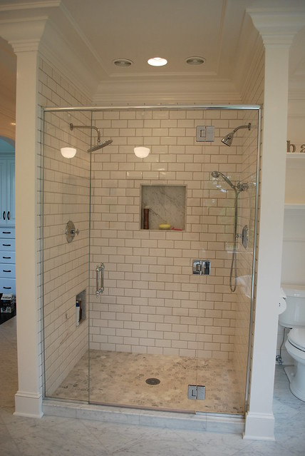 3X6 Subway Tile Shower With Hex Carrera Marble Floor Flickr Photo