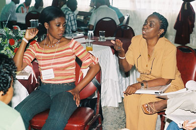 Afro-Colombians discuss the main problems they face during a working group session at the Cartagena training on the use of the Inter-American Human Rights System. February, 2004. by Pan-African News Wire File Photos