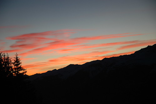 sunset sky mountain snow france alps lesarcs