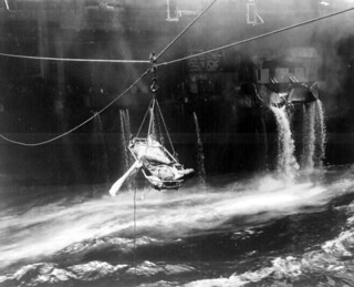 Transfer of wounded from USS BUNKER HILL to USS WILKES BARRE