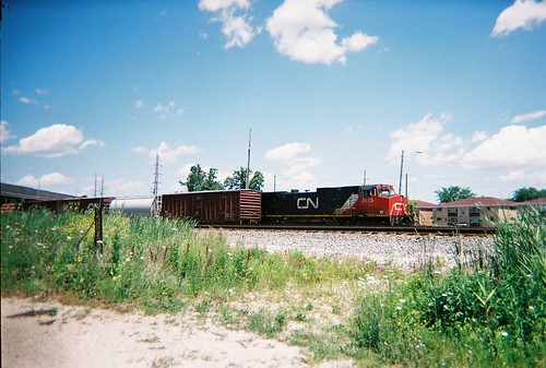 Canadian National RR freight train waiting on a hold order. Schiller Park Illinois. July 2008. by Eddie from Chicago
