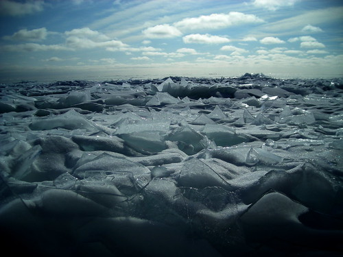 Ice along the north shore of Lake Superior, Minnesota USA