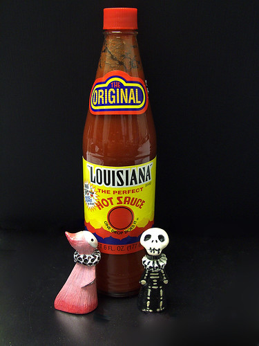 Skelly and Sakura enjoy some hot sauce