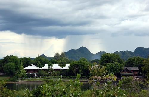 rain clouds river thailand karst riverkwai