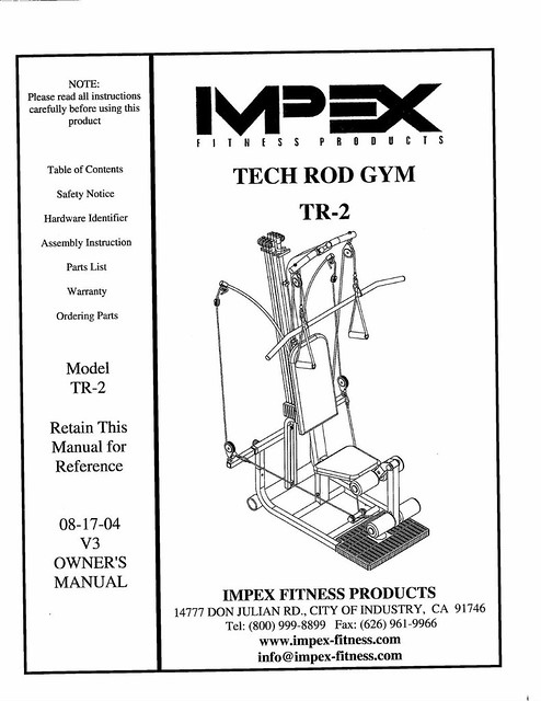 Impex Tech Rod Gym Manual