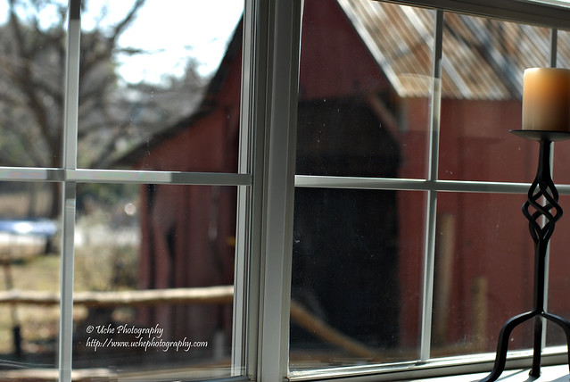 red barn through the window