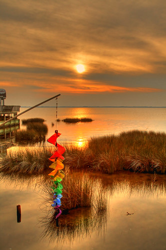 sunset sea summer color grass duck nc northcarolina storefront outerbanks hdr obx soundside