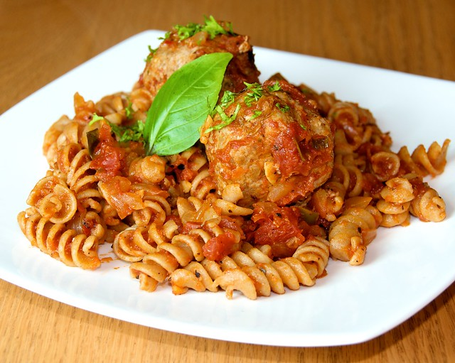 Healthy Turkey Meatballs with Pasta in Tomato Sauce | Flickr - Photo ...