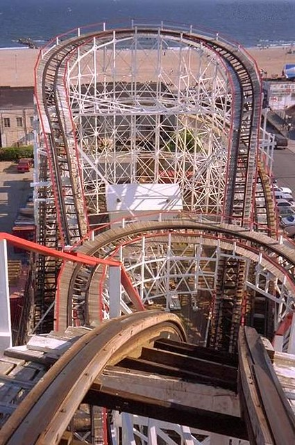 Top of the lift hill on the Cyclone roller coaster, Coney Island