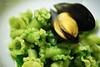 riccioli, parsley pesto broth, totten inlet mediterranean mussels