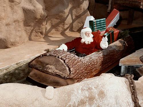 Santa Claus on the Log Ride, Knott's Berry Farm, circa 1970