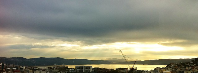 Wellington: last night's glory shining through the clouds