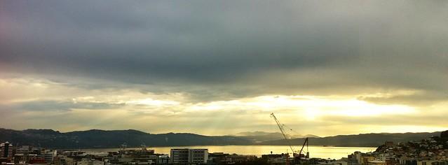 Wellington: last night's glory shining through the clouds