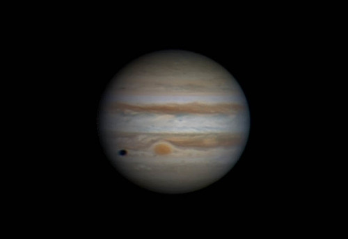 Jupiter & Ganymede shadow RRGB - 090314 - 18:26UTC by Mick Hyde