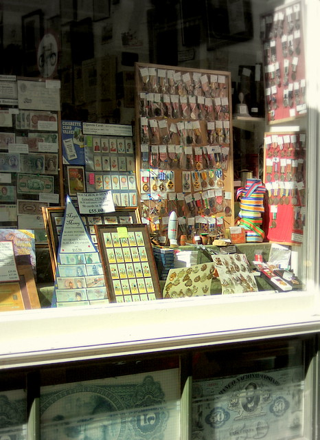 Coin, stamp shop window