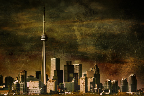 city urban toronto skyline landscape cntower textured skyscapers fesign artlibre istvankadar