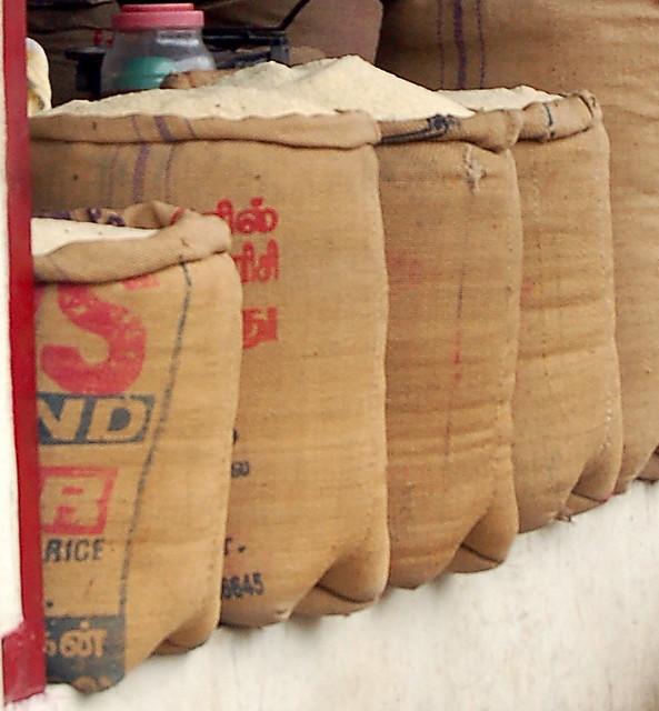 Rice flour sacks | Love the dimpled bottoms of the sacks