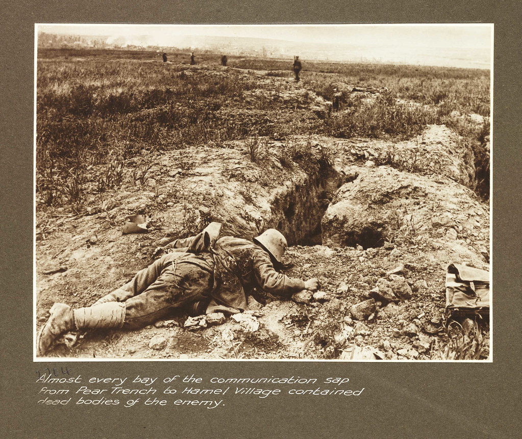 Almost every bay of the communication sap from Pear trench to Hamel Village contained dead bodies of the enemy