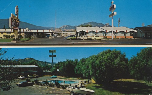 california pool vintage postcard motel ukiah luann sambos dualview friendshipinn