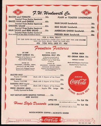 1950's era F.W Woolworth Store Lunch Counter menu. by Eddie from Chicago