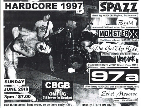 Spazz, Monster X, Braid, Get Up Kids, 97a punk hardcore flyer CBGB