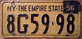 "NEW YORK 1956 EMPIRE STATE, 1955 plate with ""56"" TAB"