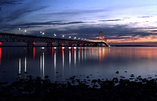 bridge lake water landscape dawn lights michigan shoreline mackinac