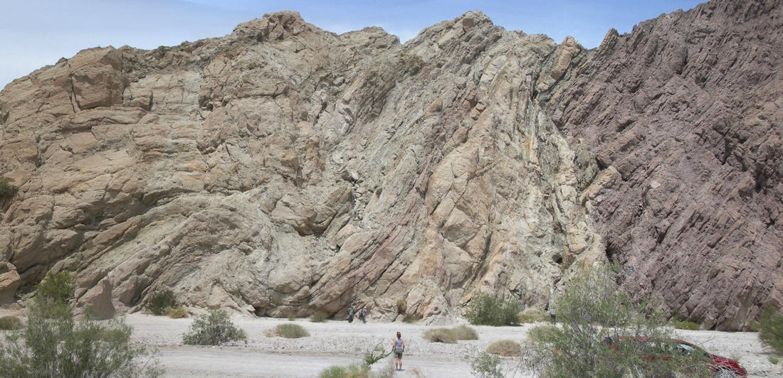 Anticline, syncline, and fault