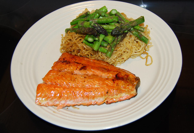 Orange Salmon With Asparagus Recipe — Dishmaps