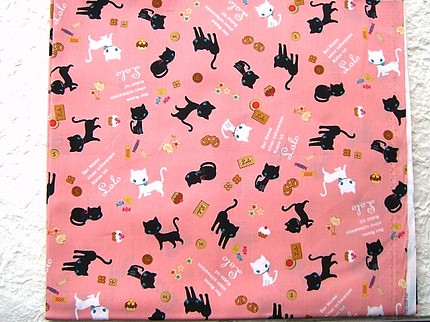 Cute Japanese Cotton Fabric-Cute Cat Name is Lolo And Cake And Cookie etc