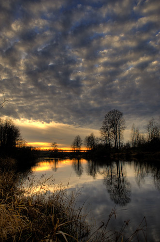 sunset reflection clouds river bc hdr portcoquitlam photomatix coquitlamriver colonyfarmregionalpark anawesomeshot 2008113000148
