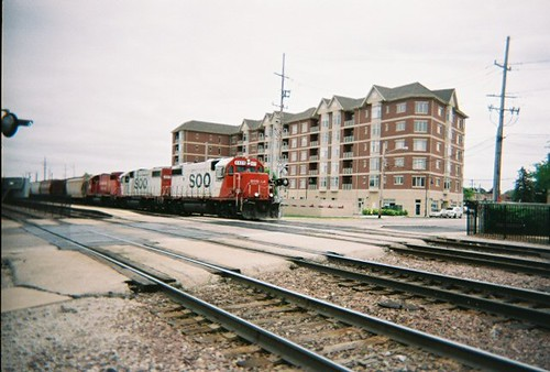 Westbound Canadian Pacific freight train with former Soo Line railroad locomotives arriving in Franklin Park Illinois. May 2008. by Eddie from Chicago