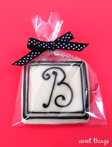 square monogram cookie