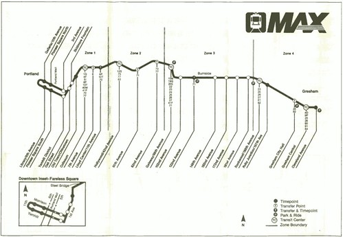 MAX Light Rail map, 1986
